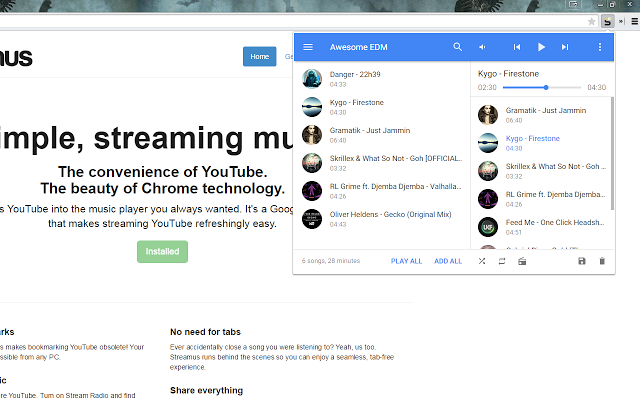 streamus rozshirennya yake peretvoryu youtube v povnoc nniy muzichniy serv s 1 - Streamus — розширення, яке перетворює YouTube в повноцінний музичний сервіс